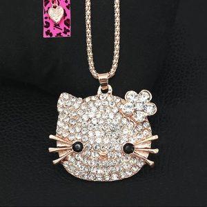 💗BETSEY JOHNSON Crystal Cute Cat Kitten Necklace
